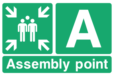 Assembly Point A Arrows Sign