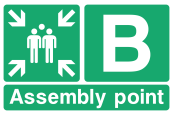 Assembly Point B Arrows Sign