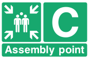 Assembly Point C Arrows Sign