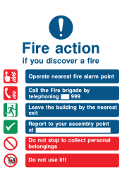 Fire Action If You Discover The Fire Operate Nearest Fire Alarm Instruction Call The Fire Brigade By Telephoning 999 Do Not Use Lift Sign