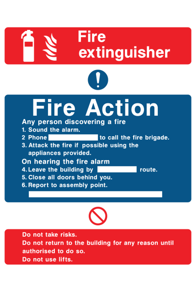Fire Extinguisher Fire Action Any Person Discovering A Fire Sound The Alarm Phone … Do Not Use Lifts Sign
