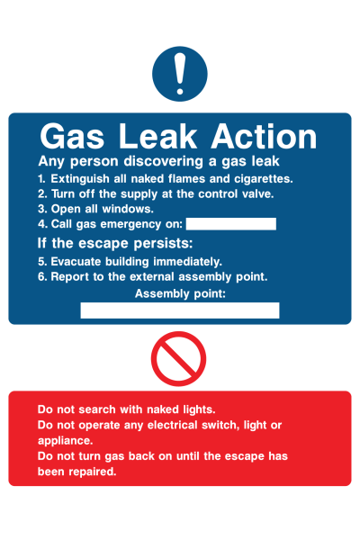 Gas Leak Action Any Person Discovering A Gas Leak Do Not Search With Naked Lights Instruction Sign
