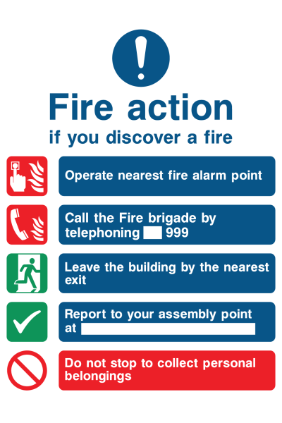 Fire Action If You Discover The Fire Operate Nearest Fire Alarm Instruction Call The Fire Brigade By Telephoning 999 Sign