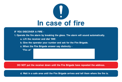 In Case Of Fire If You Discover A Fire Do Not Put Reciever Down Wait In A Safe Area Sign