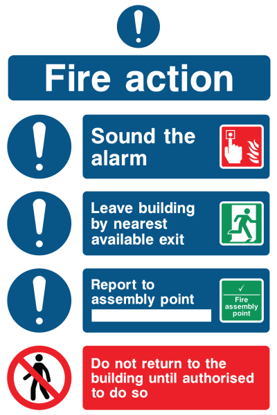 Fire Action Sound The Alarm Leave Building Report Do Not Return Sign