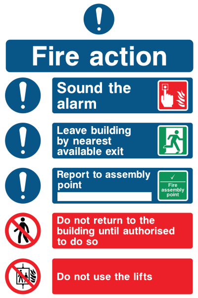 Fire Action Sound The Alarm Leave Building Report Do Not Return Do Not Use Lifts Sign