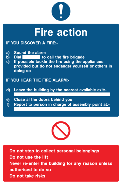 Fire Action If You Discover Fire Sound The Alarm If You Hear The Fire Alarm Do Not Use Lift Never Re-enter Do Not Take Risk Sign
