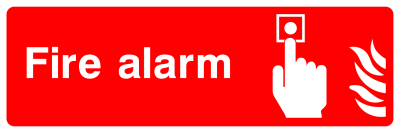Fire Alarm Button Sign - Wide