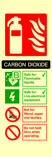 Carbon Dioxide Flammable Liquids Live Electrical Not For Wood Paper Textiles Do Not Hold Horn Sign