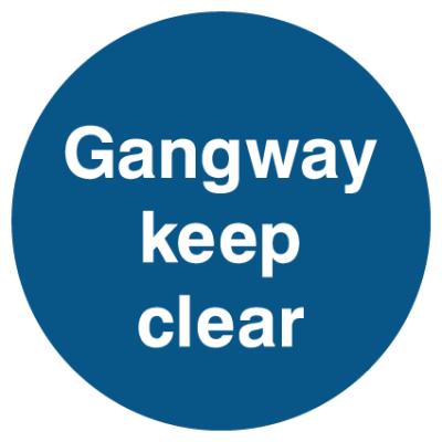 Gangway Keep Clear Sign