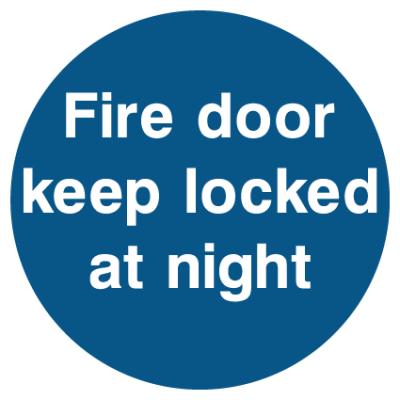 Fire Door Keep Locked At Night Sign
