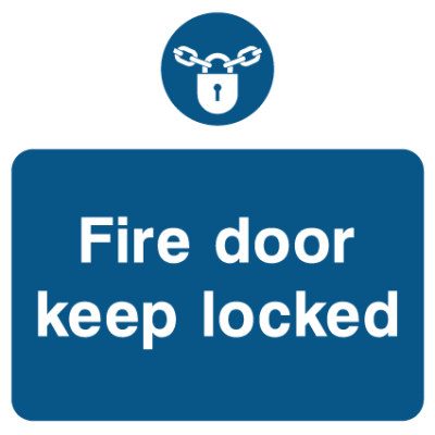 Fire Door Keep Locked - Lock Sign