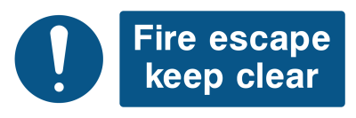 Fire Escape Keep Clear Sign - Wide