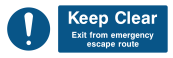 Keep Clear Exit From Emergency Escape Route Sign - Wide