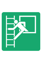 First Aid Emergency Window with Escape Ladder Sign