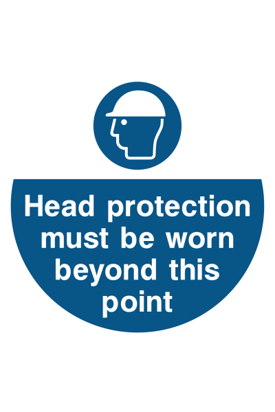 Head Protection Must Be Worn Beyond This Point Floor Sticker