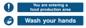 You Are Entering Food Production Area Wash Your Hands Sign - Wide