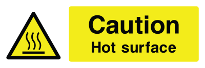 Caution Hot Surface Sign - Wide