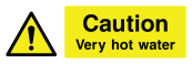 Caution Very Hot Water Sign - Wide