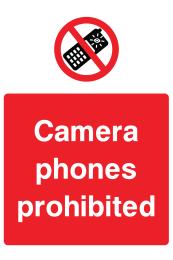 Camera Phones Prohibited Sign