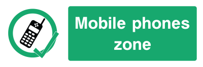 Mobile Phones Zone Sign - Wide