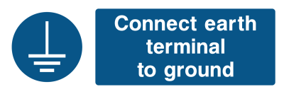 Connect Earth Terminal To The Ground Sign - Wide