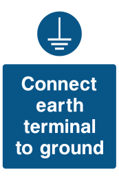 Connect Earth Terminal To The Ground Sign