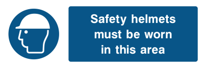 Safety Helmets Must Be Worn In This Area Sign - Wide