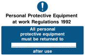 All Personal Protective Equipment Must Be Returned To ... After Use Sign