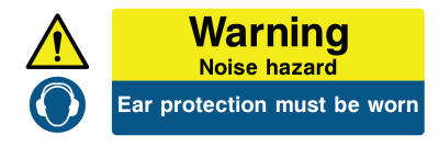 Warning Noise Hazard Ear Protection Must Be Worn Sign - Wide