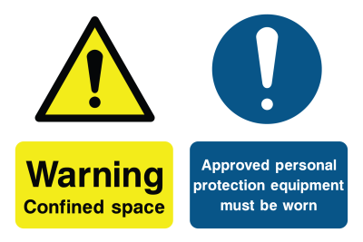 Warning Confined Space Approved Personal Protection Equipment Must Be Worn Sign
