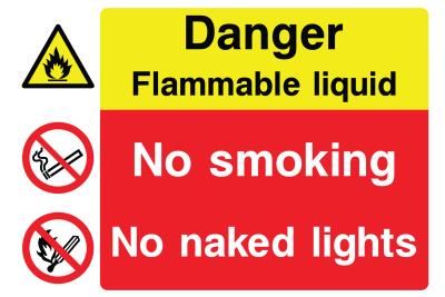 Danger Flammable Liquid No Smoking No Naked Lights Sign