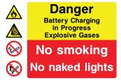Danger Battery Charging In Progress Explosive Gases No Smoking No Naked Lights Sign