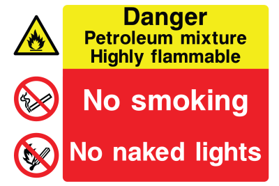 Danger Petroleum Mixture Highly Flammable No Smoking No Naked Lights Sign