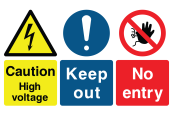 Caution High Voltage Keep Out No Entry Sign