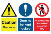 Caution Plant Room Door To Be Kept Locked No Admittance Authorised Personnel Only Sign