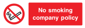 No Smoking Company Policy Sign - Wide