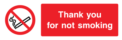 Thank You For Not Smoking Sign - Wide