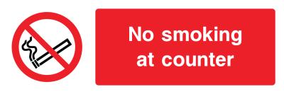 No Smoking At Counter Sign - Wide
