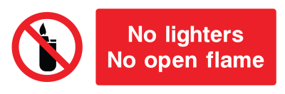No Lighters No Open Flame Sign - Wide