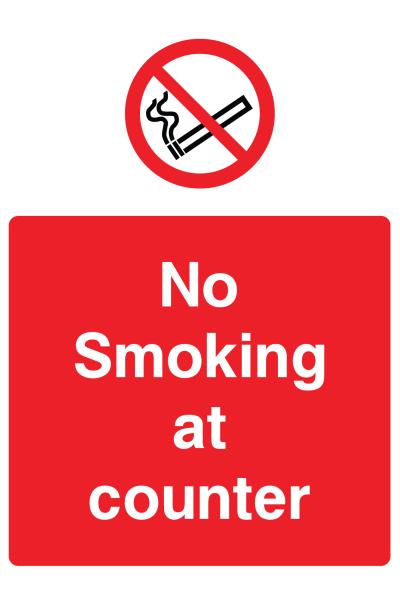 No Smoking At Counter Sign