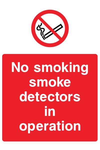 No Smoking Smoke Detectors In Operation Sign