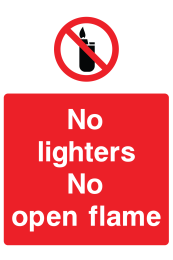 No Lighters No Open Flame Sign