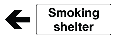 Smoking Shelter Arrow Left Sign - Wide