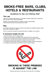 Smoke Free Bars, Clubs, Hotels & Restaurants Guidelines For Bar And Waiting Staff Sign