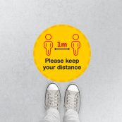 1m distance floor stickers