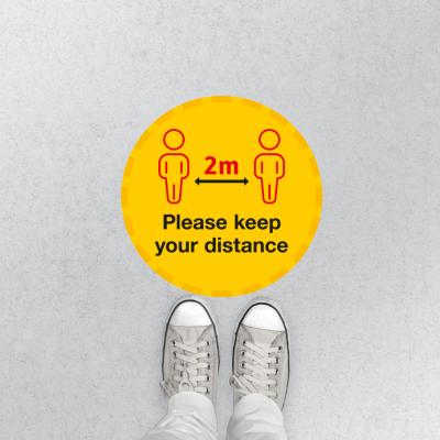 Please keep your distance floor sticker