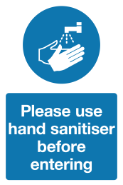 Please use hand sanitiser before entering