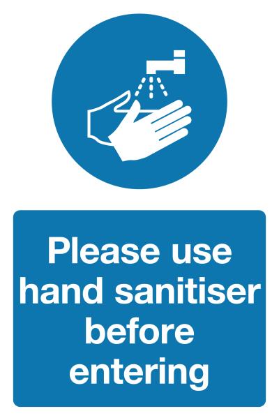 Please use hand sanitiser before entering
