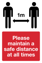 1m distance signs